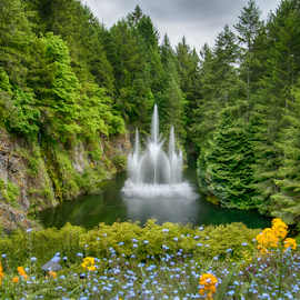 fountain surrounded by trees and flowers by Kathy Dee - Nature Up Close Gardens & Produce ( sky, blue, green, fountain, trees, cedar, yellow, flowers, cedars )