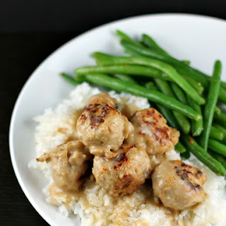 Six-Ingredient Meatballs and Gravy over Rice