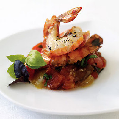 Grilled Shrimp with Cherokee and Oxheart Tomato Tartare