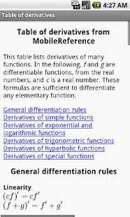 Table of derivatives - screenshot