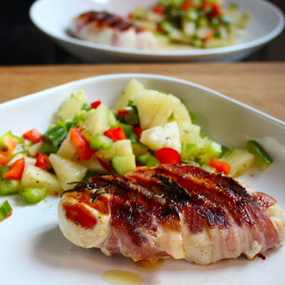 Tefal Optigrill - Bacon Wrapped Chicken with Pineapple Pepper and Chilli Salsa