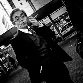 Smoking Area by Kurt K Gledhill - People Street & Candids ( okayama, monochrome, japan, street, white, candid, portrait, black )
