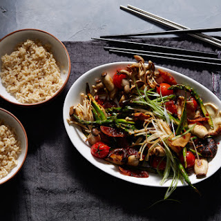 Spicy Asian mushroom stir-fry with Chinese sausage and tomato