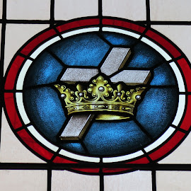 Crown and Cross by David Gilchrist - Artistic Objects Glass ( church, window, artistic, glass, stained glass )