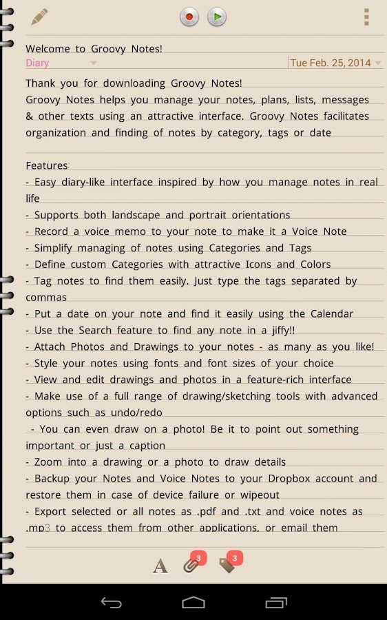 Groovy Notes - Personal Diary Screenshot 17