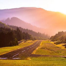 Oakridge Airport by Thomas Larkin - Landscapes Travel ( sunset, runway, summer, oakridge oregon, golden hour )