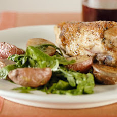 Roast Chicken with Potatoes and Arugula