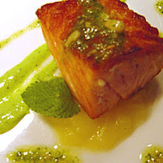 Confit Salmon, Tomato Fondue And Asparagus Cream
