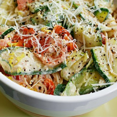Pasta with Zucchini, Tomatoes and Creamy Lemon-Yogurt Sauce