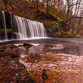 Waterfall in Wales by Clive  Rees - Landscapes Waterscapes ( water, tranqulity, brecon beacons, waterscape, waterfall, clive rees, river,  )