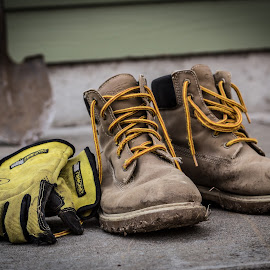 Work Hard. by Chris Zachary - Artistic Objects Clothing & Accessories ( work, shoes, mud, yard, shovel, tough, manly, gloves, vignette, dirt, man, boots, artistic, object )