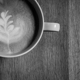 Black latte by Chris Hartley - Food & Drink Alcohol & Drinks ( #wooden, #coffee, #rosetta, #latte, #mug, #drink, #blackandwhite )