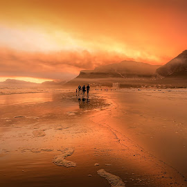 Cape Fires 2015 from Sunrise Circle Beach by Samir Abdul - Landscapes Mountains & Hills ( mountain, sunset, beach, landscape, fire )