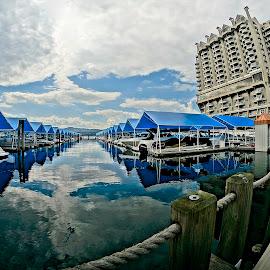 The Coeur d'Alene Resort Marina by Barbara Brock - City,  Street & Park  Vistas ( idaho marina, boats in a marina, fish eye shot of marina, marina )