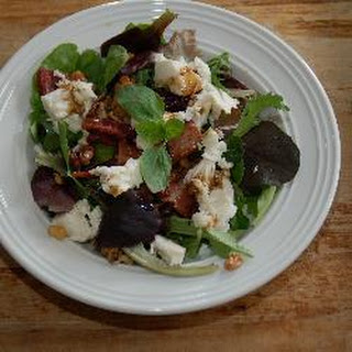 Bacon And Black Pudding Salad With Walnuts And Mozzarella