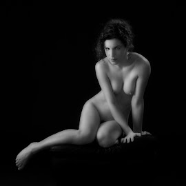 Babs by John Gross - Nudes & Boudoir Artistic Nude ( john henry, beautiful form, light painting, black and white, artistic nude, curves, shadows and light )