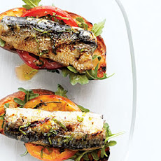 Grilled Sardine, Tomato, and Mint Bruschetta