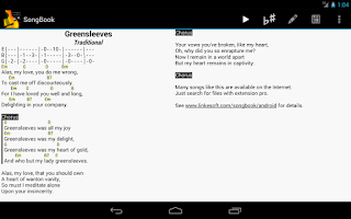 Screenshot of SongBook