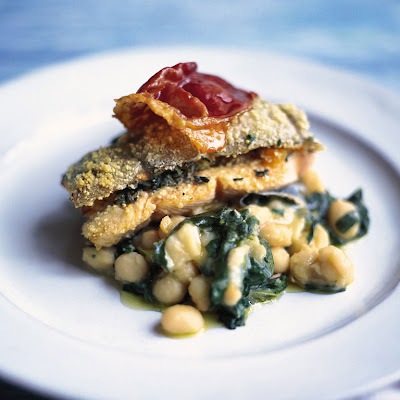 Roast Trout With Spinach, Sage & Prosciutto