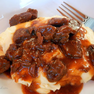 BBQ Steak Tips Over Mashed Potatoes
