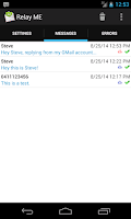 Screenshot of Relay ME, SMS via Email