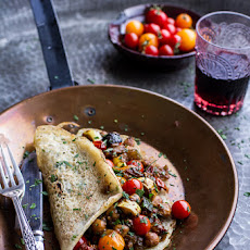 Rava Dosas (Indian Crepes) with Summer Squash + Tomato Chickpea Masala.