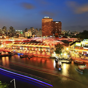 After sunset at clark quay by Barry Allan - City,  Street & Park  Night