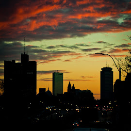 Boston Sunrise by Alan Scherer - City,  Street & Park  Skylines ( clouds, orange, red, boston, blue, sunrise )