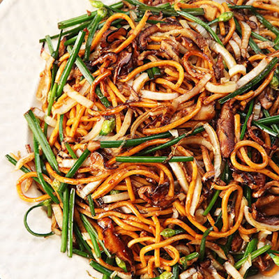 Stir-Fried Lo Mein With Charred Cabbage, Shiitake, and Chives