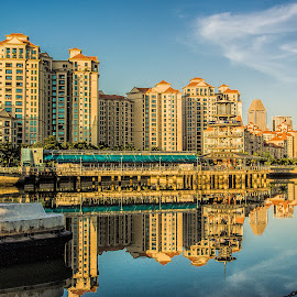 sunrise by Vibeke Friis - Buildings & Architecture Homes ( skyline, reflections, sunrise, singapore,  )