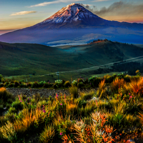 `Popocataepetl, in the sunrise by Cristobal Garciaferro Rubio - Landscapes Prairies, Meadows & Fields ( mountain, popo, mexico, popocatepetl, sunrise )