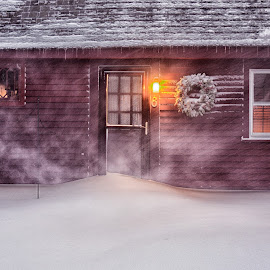 Snowstorm... by Alan Roseman - Buildings & Architecture Homes ( rehoboth, new england, snow, snow storm, blizzard )