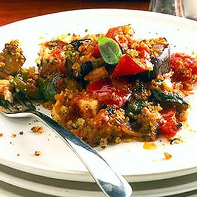 Ratatouille With Goat's Cheese & Herby Crumble