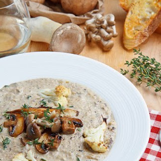 Creamy Mushroom and Roasted Cauliflower Soup
