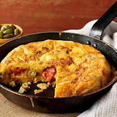 Spanish tortilla with Spanish olives and chorizo