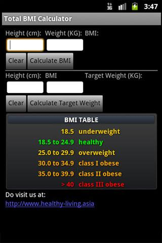 Total BMI Calculator