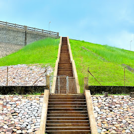 Steps To The Sky by Saikat Kundu - Buildings & Architecture Other Exteriors ( sky, stairs, green, outdoor, staircase, gravel )