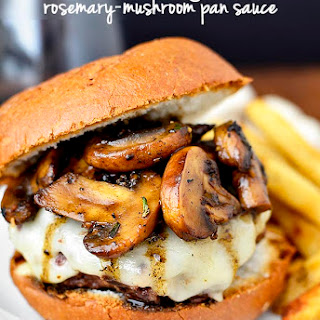 Swiss Pan Burgers with Rosemary-Mushroom Pan Sauce