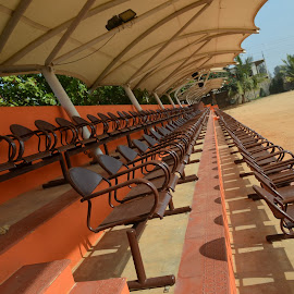 Perspective Seats by Praveen Kumar - Artistic Objects Furniture ( seat, sunny, cricket, ground, shade, Architecture, Ceilings, Ceiling, Buildings, Building,  )