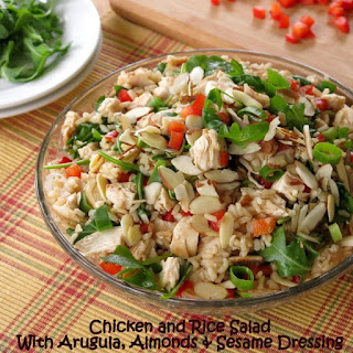 Chicken and Rice Salad with Arugula, Almonds, Red Pepper and Sesame Dressing