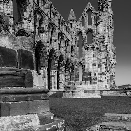 Whitby Abbey Detail, Whitby, North Yorkshire, England by Simon Harding - Buildings & Architecture Architectural Detail ( masonry, black and white, ruin, simon harding, whitby abbey, whitby, north yorkshire, england, ancient, yorkshire, d800, nikon d800, ruins, historical, nikon, abbey )