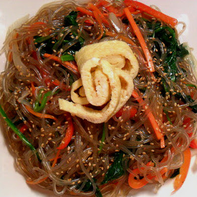 Vegetarian Japchae (Korean Glass Noodles w Vegetables)