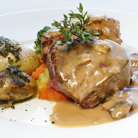 Grilled Beef medallions by Katerina Galkina - Food & Drink Plated Food ( dinner, medallions, mushroom sauce, potatos, beef, meat lovers )