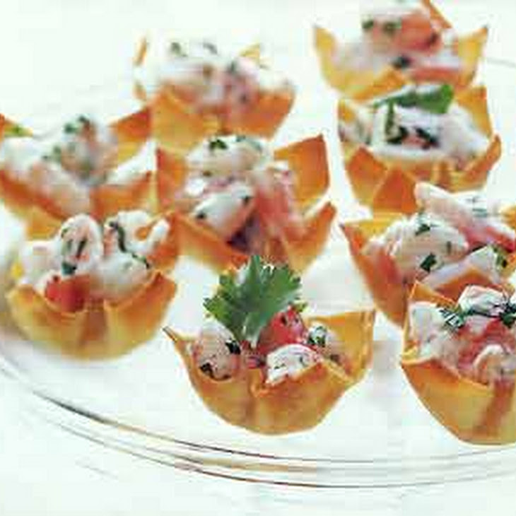 Smoked Salmon & Horseradish Mascarpone In Wonton Cups ...