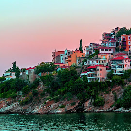 Panagia peninsula by Stratos Lales - City,  Street & Park  Historic Districts ( kavala, sunset, sea, rock, colours, peninsula )