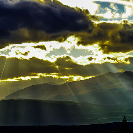 Sun In The Clouds by Stephanie Turner - Landscapes Cloud Formations ( cloud formations, clouds, mountains, nature, scenic, landscape, sun rays )