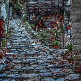 Makrinitsa by Stratos Lales - City,  Street & Park  Historic Districts ( walking, winter, village, path, traditional )