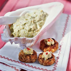 Crab Patties with Pistachio-Avocado Butter
