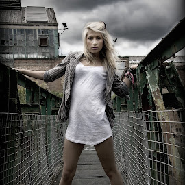 Canalside by Mark Wood - People Fashion ( stormy, fashion, t-shirt, bridge, canal )