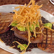 Grilled Tuna with Black Bean Chili, Avocado Puree and Fried Tortillas